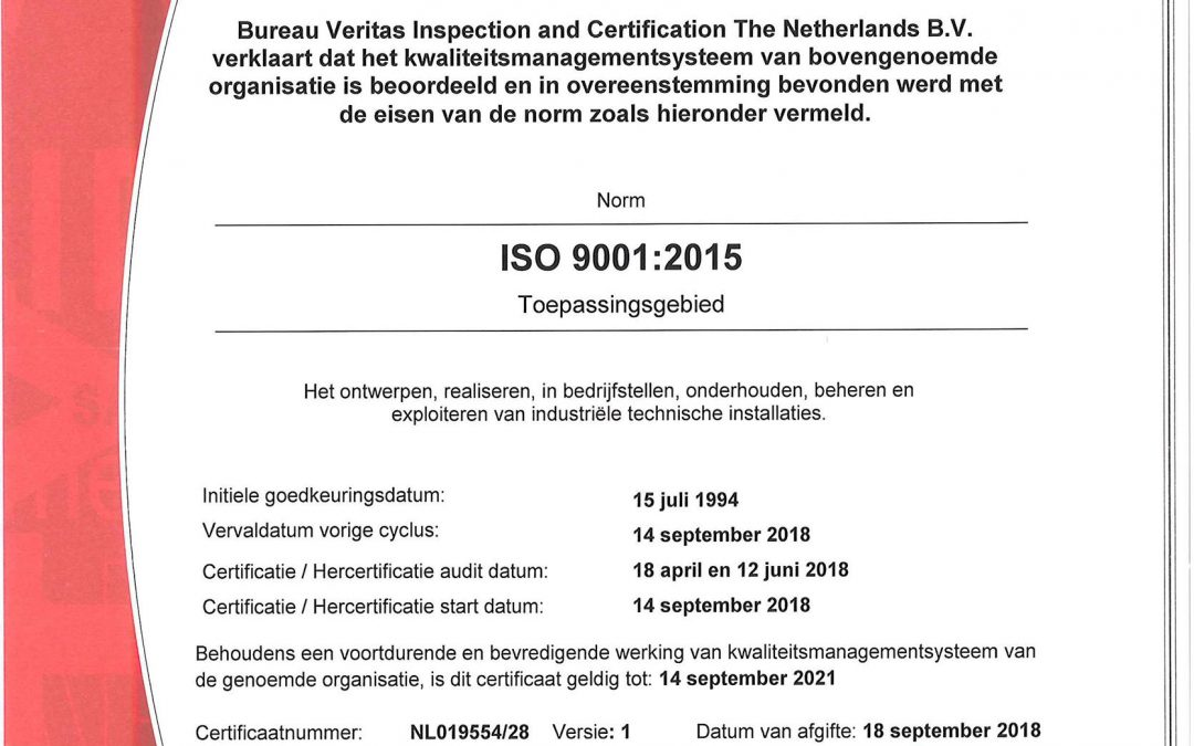 Pro-Fa has obtainedthe ISO 9001:2015 certification